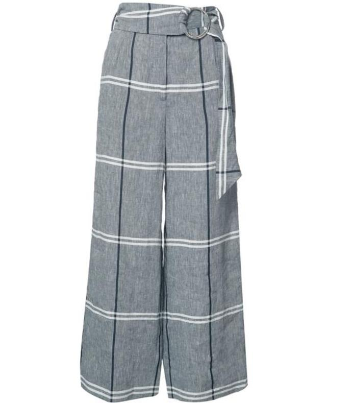 grey cropped plaid wide-leg pant