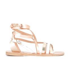 gold ankle strap flat sandal