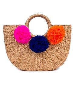 multicolor pom beach basket bag