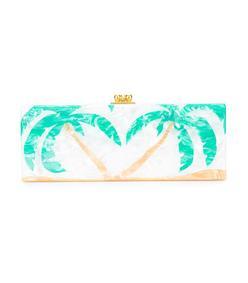 white palm trees print clutch bag
