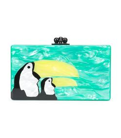 green pelican print clutch bag