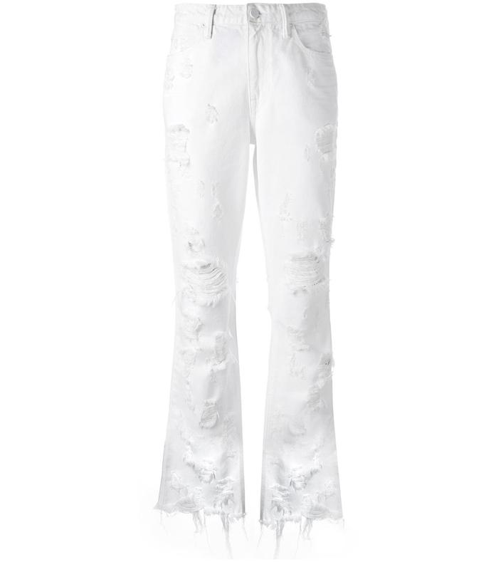 white distressed cropped jeans