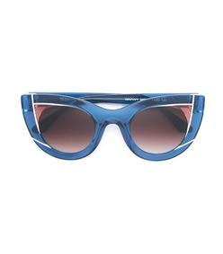 blue cat eye shaped sunglasses