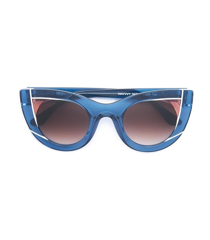 blue cat eye shaped sunglasses
