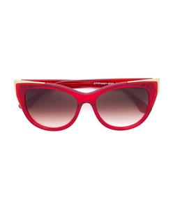 red cat eye shaped sunglasses