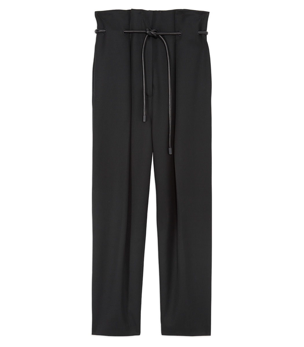black origami-pleat wool pant
