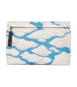 blue cloud print clutch