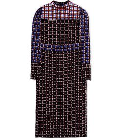 ShopBazaar Marni Plaid Print Crêpe Midi Dress MAIN