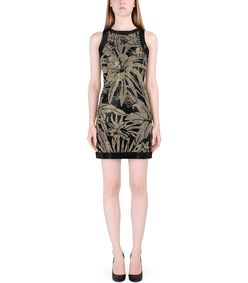 ShopBazaar Balmain Black Rhinestone-Embellished Mini Dress FRONT