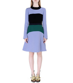 ShopBazaar Marni Color-Block Crêpe Dress FRONT