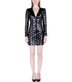 ShopBazaar Balmain Diamond Sequin Dress FRONT