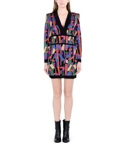 ShopBazaar Balmain Printed Mini Knit Dress FRONT