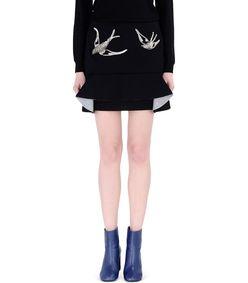ShopBazaar Marni Black Neoprene Pleated Sequin Skirt FRONT