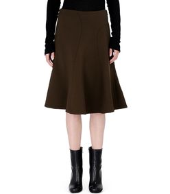 ShopBazaar Marni Olive Green Wool Skirt FRONT