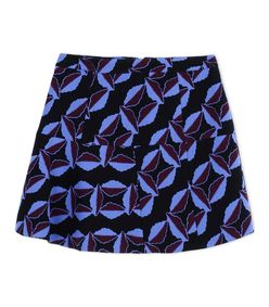 ShopBazaar Marni Black Wool Printed A-Line Miniskirt MAIN