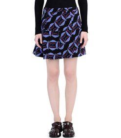 ShopBazaar Marni Black Wool Printed A-Line Miniskirt FRONT