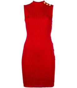 red ribbed sleeveless dress