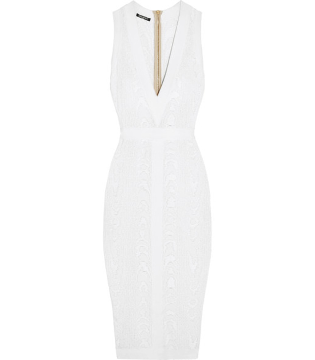 Balmain Midi dresses White Knitted-Jacquard Dress