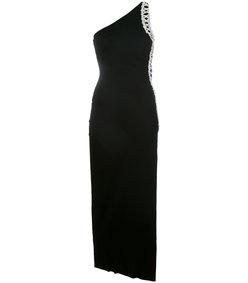 black one-shoulder embellished dress