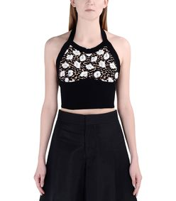 ShopBazaar Marni Knitted Floral Crop Top FRONT