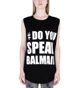 ShopBazaar Balmain Black Silkscreen Sleeveless T-Shirt FRONT