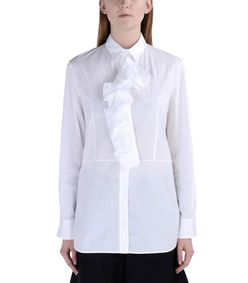 ShopBazaar Marni White Cotton Pleated Button Front Shirt FRONT