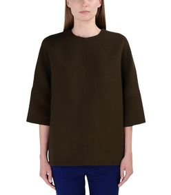 ShopBazaar Marni Olive Green Wool Top FRONT