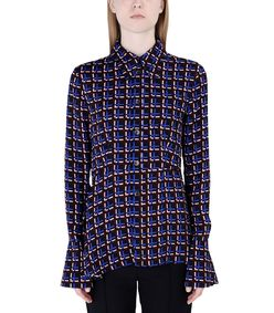 ShopBazaar Marni Checkered Peplum Shirt FRONT