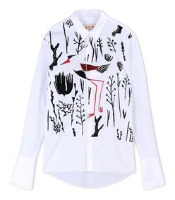ShopBazaar Marni White Printed Poplin Shirt MAIN