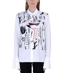 ShopBazaar Marni White Printed Poplin Shirt FRONT