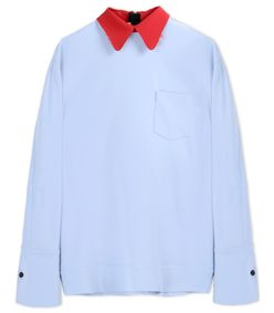 ShopBazaar Marni Sky Blue Long Sleeve Blouse MAIN