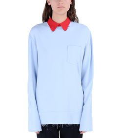 ShopBazaar Marni Sky Blue Long Sleeve Blouse FRONT