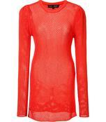 yellow orange open knit pullover