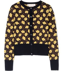 ShopBazaar Marni Yellow Floral Cardigan  MAIN
