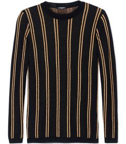 ShopBazaar Balmain Longsleeve Lamé Striped Sweater MAIN