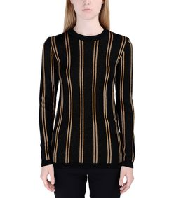 ShopBazaar Balmain Longsleeve Lamé Striped Sweater FRONT