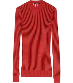 ShopBazaar Balmain Red Ribbed-Knit Top MAIN