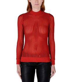 ShopBazaar Balmain Red Ribbed-Knit Top FRONT