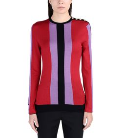 ShopBazaar Balmain Striped Red Sweater FRONT