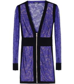 ShopBazaar Balmain Purple Lace & Velvet Mini Dress MAIN