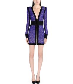 ShopBazaar Balmain Purple Lace & Velvet Mini Dress FRONT