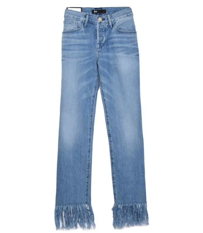 blue stella straight crop fringe jeans
