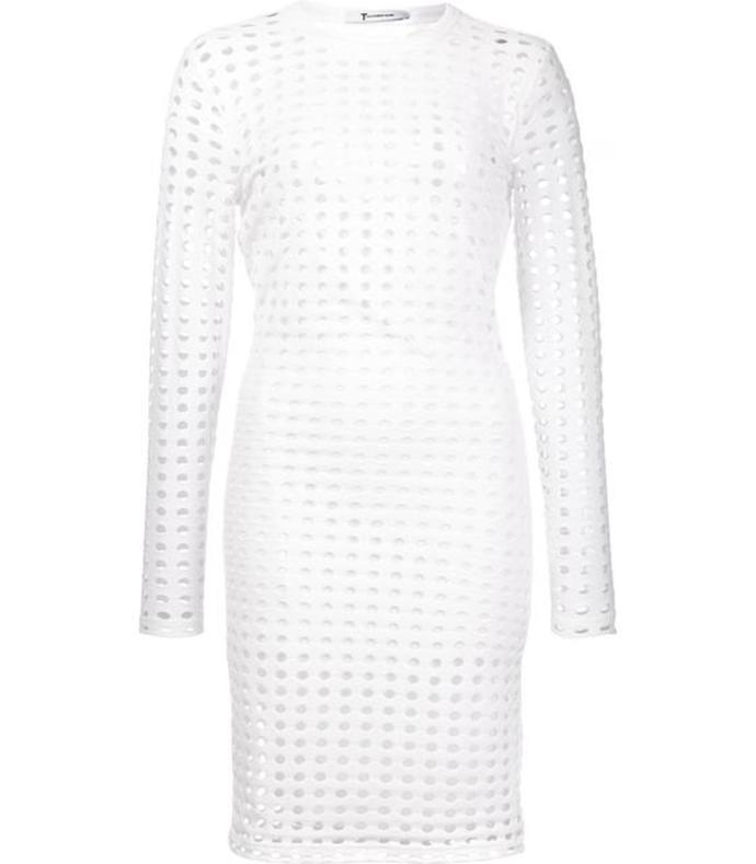 white circular hole dress