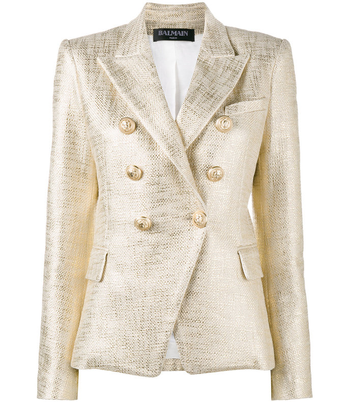 gold double breasted lamé blazer