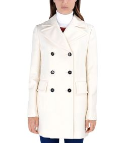 ShopBazaar Marni Ivory Double-Breasted Wool Coat FRONT