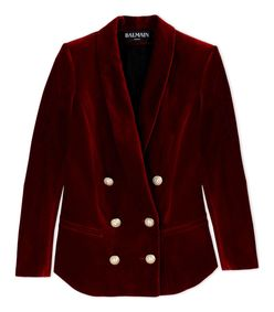 ShopBazaar Balmain Red Velvet Double-Breasted Blazer MAIN