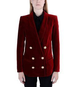 ShopBazaar Balmain Red Velvet Double-Breasted Blazer FRONT