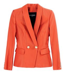 ShopBazaar Balmain Textured Orange Blazer MAIN