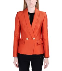 ShopBazaar Balmain Textured Orange Blazer FRONT