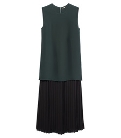 black & green double layer dress